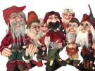 Goblin/Nisse/Tomte with forest face and red grey clothes