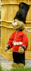 Hare as a guard soldier with bearskin cap