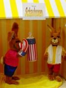 Ostermarktstand - Hasenboxen mit 2 Hasenfiguren