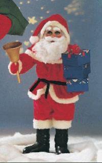 Weihnachtsmann mit Glocke und Paketen