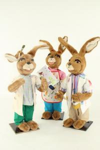 Hasen, Figurengruppe 75 cm, Malerhasen 3 Stk.