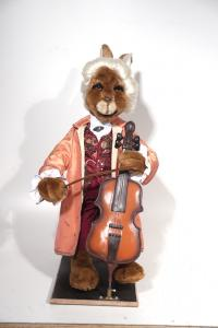 Hare- musician in the baroque garment with contrabass