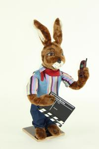 Hare- directorial assistant with flap and mobile phone