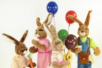 Hare- hares with coloured aerial balloons