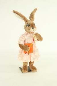 Hare- woman with handbag and cloth