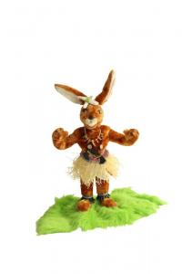 Hare native of d. Easter Island with hatchet