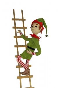 Christmas elf with button eyes on ladder