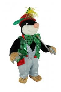 Mole with glitter vest, bow tie and top hat