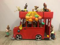 Double decker bus with rabbits