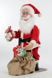 Santa Claus grabs a package