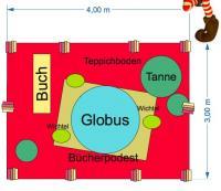 Bücher-Elfen- Themendekoration Planungsbüro mit Globus