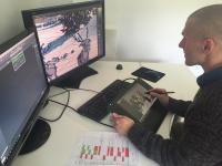Kit: 3 monitors, 3 player, cable, animation elves action in winter landscape
