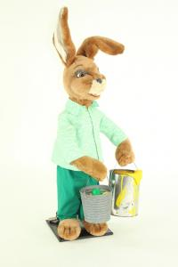 Rabbit with buckets, dyeing eggs