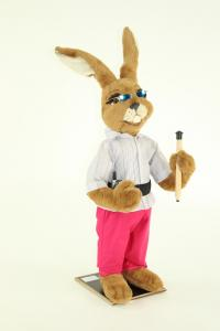 Hare with pencil and mobile phone in the belt