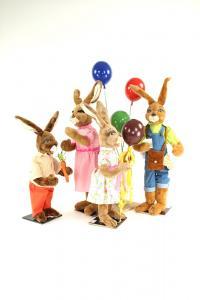 Hase- 4 Hasen mit bunten Luftballons