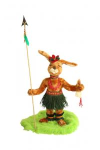 Hare native of d. Easter Island with spear and shrink head