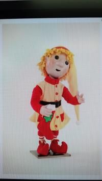 Christmas elf (bending figure) with button eyes and yellow-red clothes (DHL ElF)